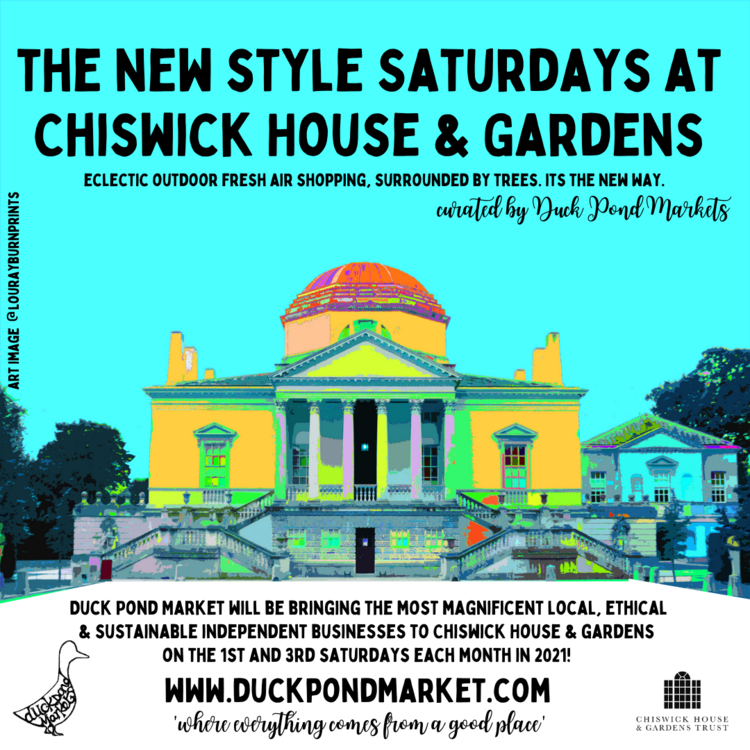 The new style Saturdays at Chiswick House and Gardens - eclectic outdoor fresh air shopping, surrounded by trees. It's the new way. Curated by Duck Pond Markets